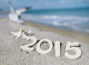 2015 letters with starfish, ocean , beach and seascape, shallow